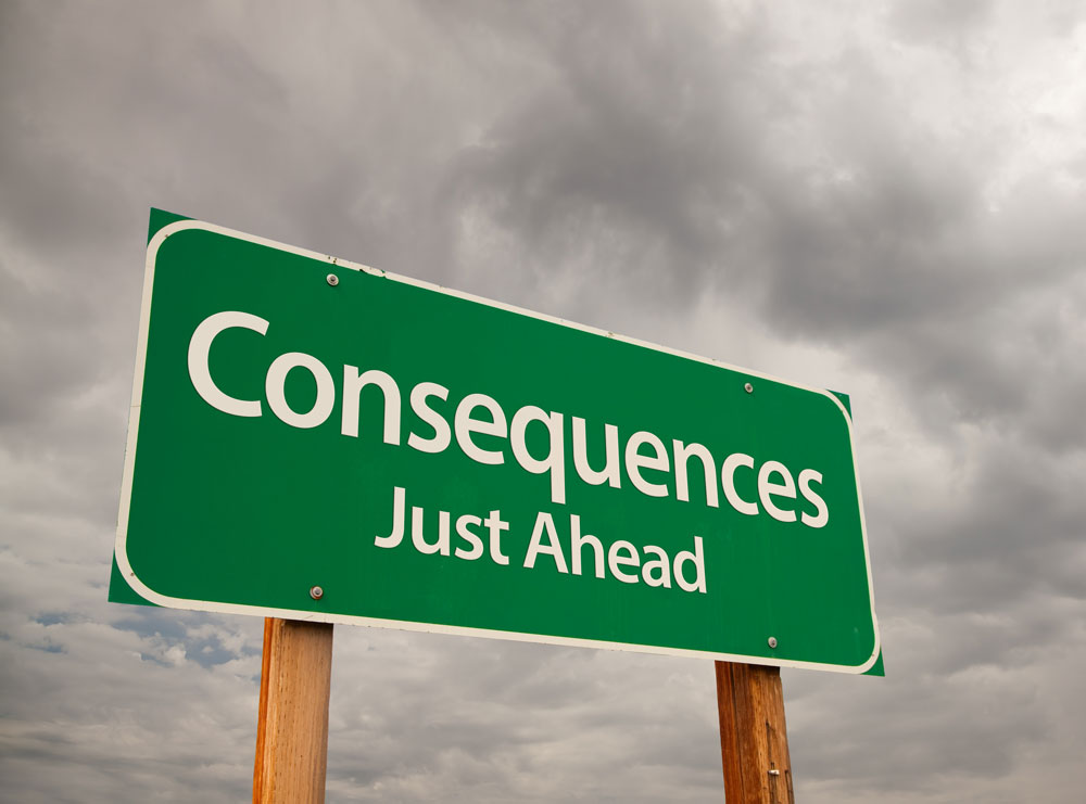sign reading consequences just ahead - addiction consequences - valley recovery center of california - sacramento drug addiction rehab facility - california drug rehab