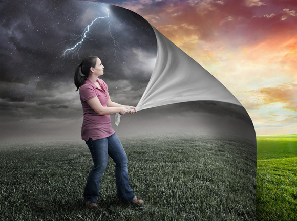 dealing with depression - woman peeling back clouds - valley fresno
