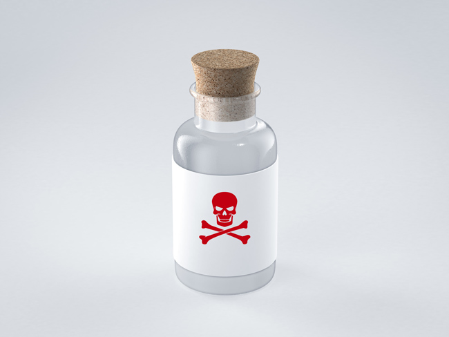 glass bottle with poison symbol