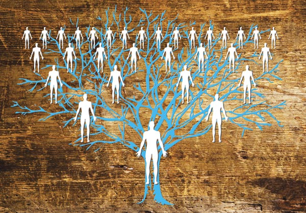 blue tree with white figures - wooden background - family tree concept - family